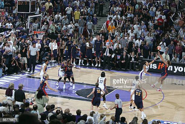 Nykesha Sales of the Connecticut Sun shoots a threepointer to try to tie the game over Ticha Penicheiro of the Sacramento Monarchs on September 20...