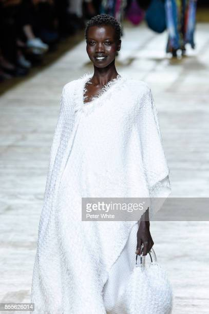 Nykhor Paul walks the runway during the Issey Miyake show as part of the Paris Fashion Week Womenswear Spring/Summer 2018 on September 29 2017 in...