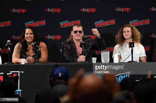 Nyla Rose Chris Jericho and Jack Perry aka Jungle Boy attend the All Elite Wrestling panel during 2019 New York Comic Con at Jacob Javits Center on...