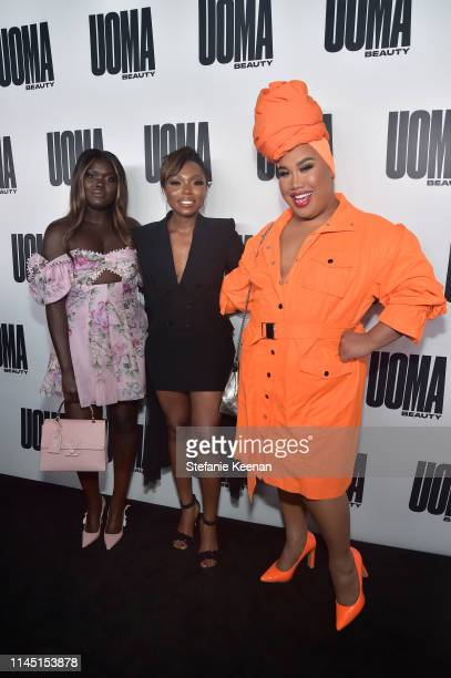 Nyma Tang Sharon Chuter and Patrick Starrr attend UOMA Beauty Launch Event at NeueHouse Hollywood on April 25 2019 in Los Angeles California