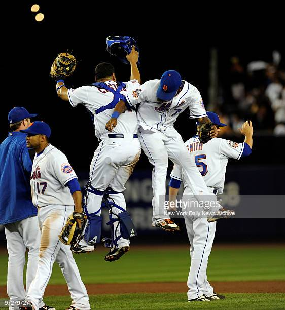 Mets vs Colorado Rockies at Shea Stadium., Mets celebrates their 7-0 shutout and 9 game winning streak going into the All-Star break., New York Mets...