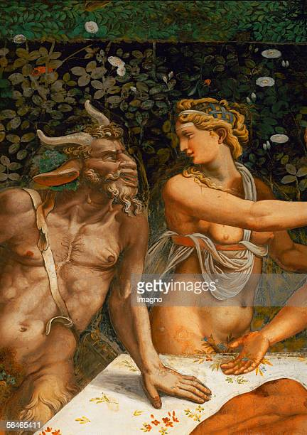 Nymph and Satyr Detail of Bacchanalia from Giulio Romano in the Hall of Amor and Psyche Palazzo del Te mural Palazzo del Te Mantova Italy [Nymphe und...