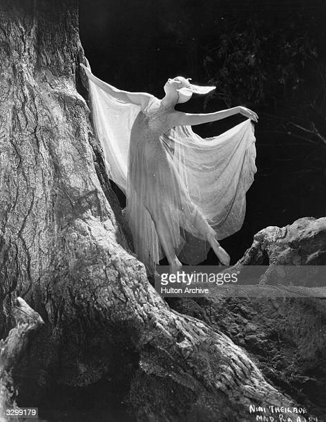 A nymphet dances in the bough of a tree in a glade in a scene from 'A Midsummer Night's Dream' directed by Max Reinhardt and William Dieterle for...