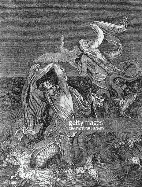 Nymphs of the Danube woodcut by H Loedel from The Song of the Nibelungs Germany 19th century