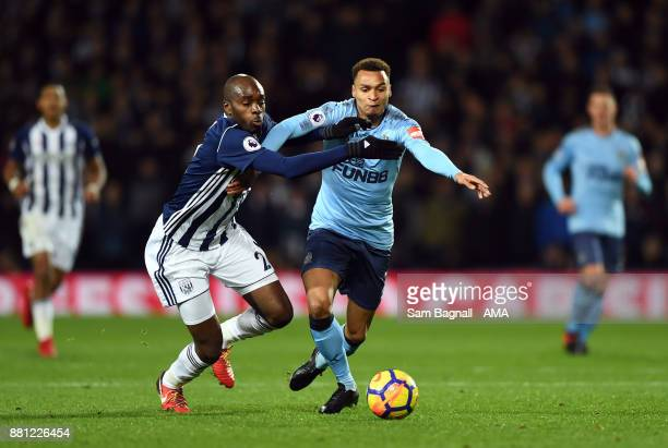 Nyom of West Bromwich Albion and Jacob Murphy of Newcastle United during the Premier League match between West Bromwich Albion and Newcastle United...
