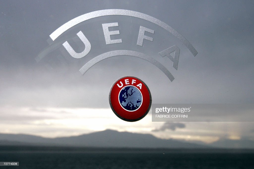 A UEFA logo is seen with Geneva Lake and : News Photo