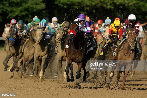 Nyquist ridden by Mario Gutierrez and Gun Runner ridden by Florent Geroux come out of the fourth turn during the 142nd running of the Kentucky Derby...