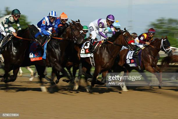 Nyquist ridden by Mario Gutierrez breaks out of the gate at the start the 142nd running of the Kentucky Derby at Churchill Downs on May 07 2016 in...