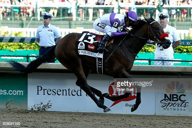 Nyquist ridden by Mario Gutierrez leads the field to the finish line during the 142nd running of the Kentucky Derby at Churchill Downs on May 07 2016...