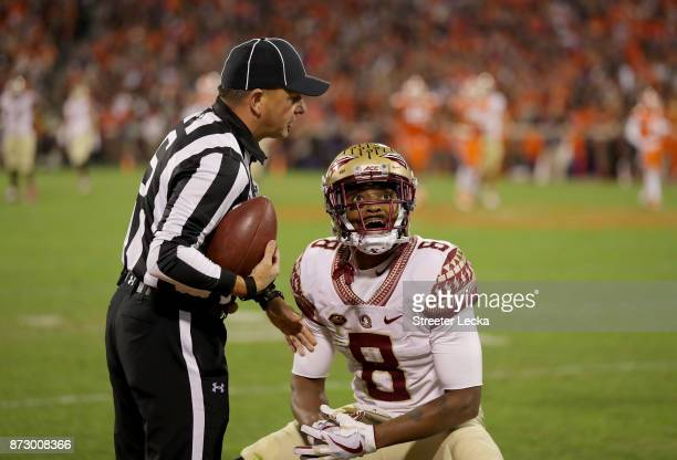 Nyqwan Murray of the Florida State Seminoles reacts after a play against the Clemson Tigers during their game at Memorial Stadium on November 11 2017...
