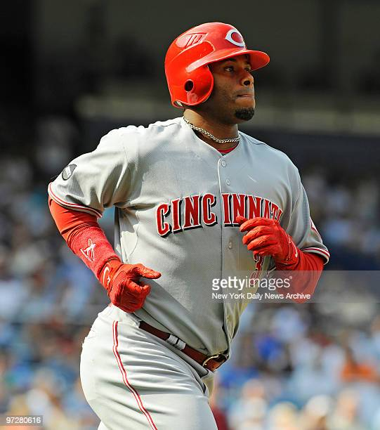 Yankees vs Cincinnati Reds at Yankee Stadium., Cincinnati Reds right fielder Ken Griffey Jr. #3 hits a solo homer off of New York Yankees relief...