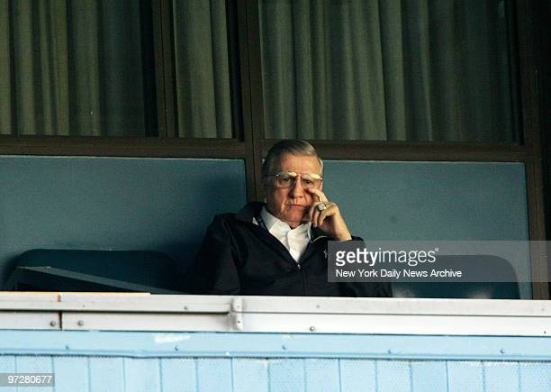 Yankees vs Cleveland Indians at Yankee Stadium.Yankees owner George Steinbrenner sits in his luxury box and watches batting practice