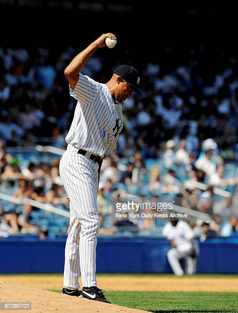Yankees vs Kansas City Royals at Yankee Stadium., Yanks closer Mariano Rivera gives up a game winning homer in the 9th to Royals Jose Guillen. Rivera...
