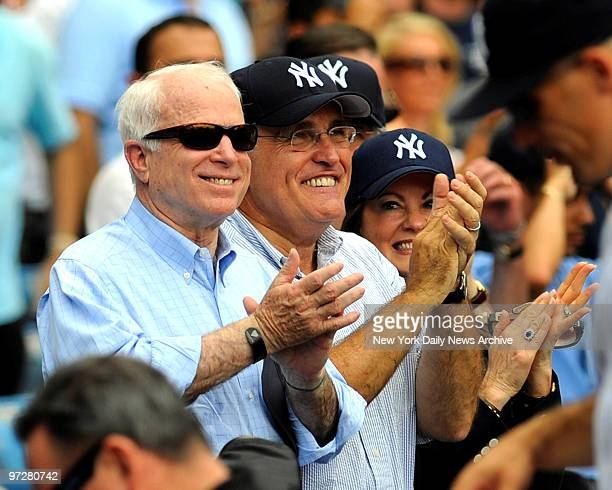 Yankees vs Oakland Athletics at Yankee Stadium., Presidential candidate John McCain is Rudy Giuliani's guest at the game along with Rudy's wife Judy...
