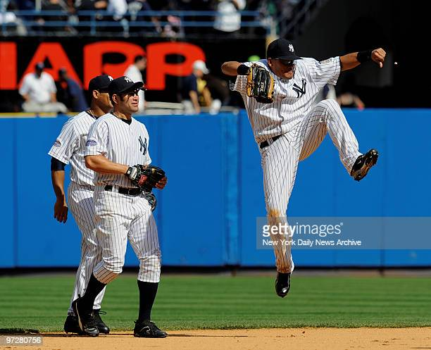 Yankees vs San Diego Padres at Yankee Stadium., New York Yankees center fielder Melky Cabrera celebrates as New York Yankees left fielder Johnny...