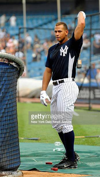 Yankees vs Tampa Bay Devil Rays at Yankee Stadium., New York Yankees third baseman Alex Rodriguez at batting practice