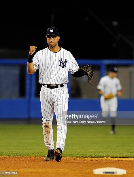Yankees vs Tampa Bay Rays at Yankee Stadium., New York Yankees shortstop Derek Jeter celebrates as the game ends