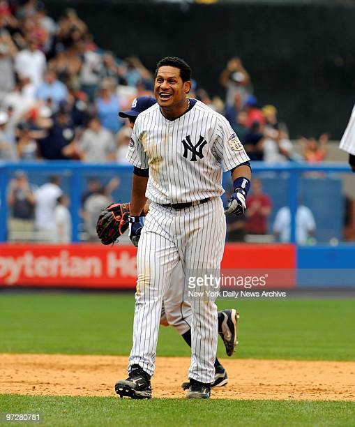 Yankees vs Tampa Bay Rays at Yankee Stadium., New York Yankees right fielder Bobby Abreu doubles in Derek Jeter with the winning run in the 10th...