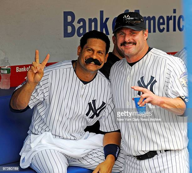 Yankees vs Tampa Bay Rays at Yankee Stadium., New York Yankees right fielder Bobby Abreu poses with his Giambi moustache and the real Jason Giambi