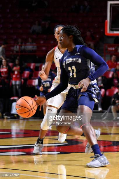 o22 breaks the 131 press during the first period of the Old Dominion Lady Monarchs game versus the Western Kentucky Lady Toppers on February 8 at EA...