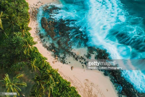 oahu landscape, drone photography - オアフ島 ストックフォトと画像