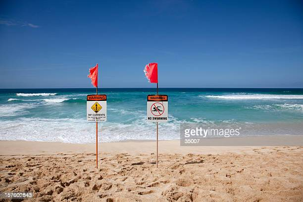 oahu north shore warning signs - banzai pipeline stock photos and pictures