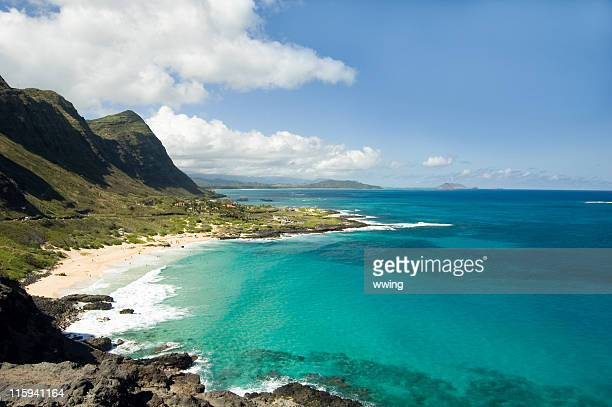 oahu panoramic scenic view - oahu stock pictures, royalty-free photos & images