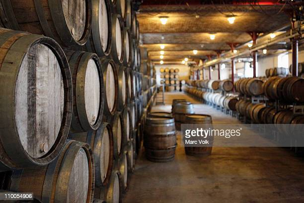 Oak barrels in a winery