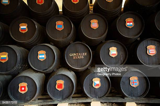 Oak barrels with national symbols of countries exported to from Gonzalez Byass bodega Jerez de la Frontera Spain
