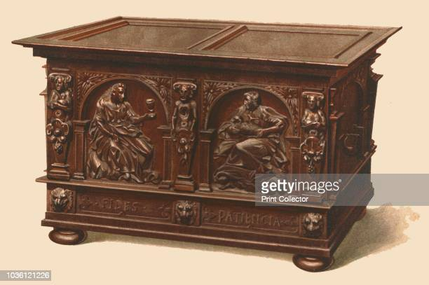 Oak chest 1904 Print from A History of English Furniture the Age of Oak by Percy Macquoid RI [TA Constable Edinburgh 1904] Artist Shirley Slocombe
