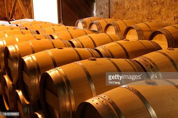 Oak Wine Barrel Rows in Winery Cellar, Napa Valley, California
