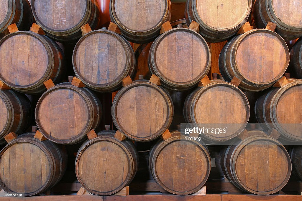 oak wine barrels. Oak Wine Barrels Stacked In Winery Cellar, Napa Valley, California : Stock Photo