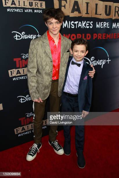 Oakes Fegley and Winslow Fegley attend the premiere of Disney 's Timmy Failure Mistakes Were Made at El Capitan Theatre on January 30 2020 in Los...