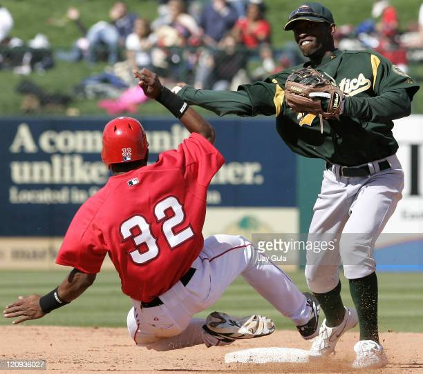 Oakland 2B Freddie Bynum turns a DP over a sliding Erick Aybar of the Angels during Cactus League action at Tempe Diablo Stadium in Tempe Arizona on...