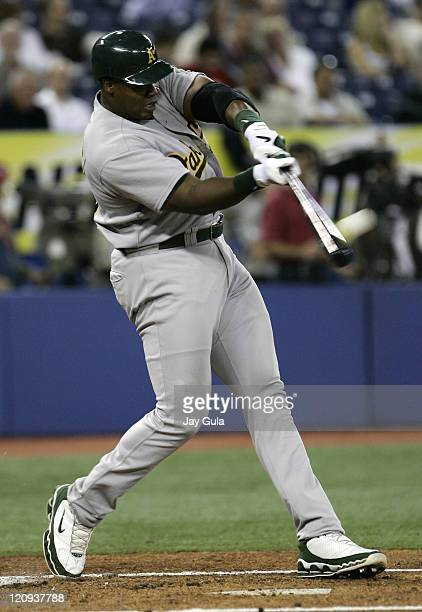 Oakland A's DH Frank Thomas launches his 27th home run of the season against the Toronto Blue Jays in MLB action at Rogers Centre in Toronto Canada...
