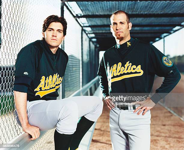 Oakland A's pitchers Barry Zito and Tim Hudson are photographed for ESPN The Magazine on April 2 2001 in Los Angeles California