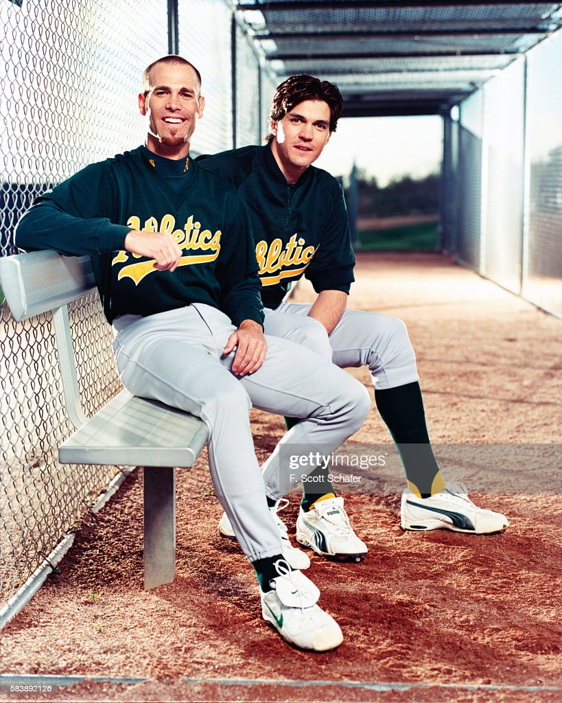 Oakland A's pitchers Tim Hudson and Barry Zito are photographed for ESPN- The Magazine on April 2, 2001 in Los Angeles, California.