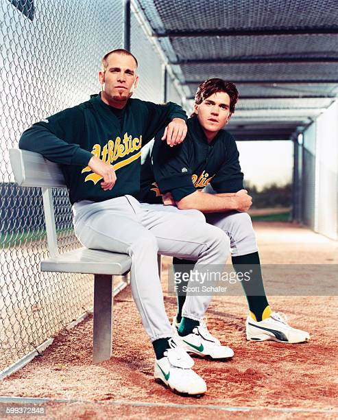 Oakland A's pitchers Tim Hudson and Barry Zito are photographed for ESPN The Magazine on April 2 2001 in Los Angeles California