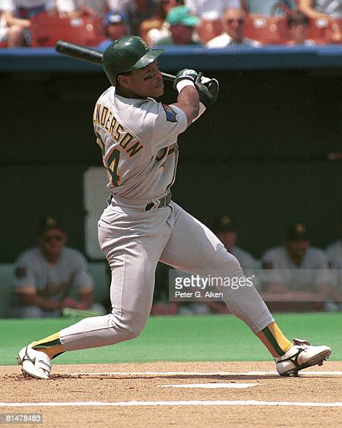 Oakland A's Rickey Henderson during game action against the Kansas City Royals at Kauffman Stadium in Kansas City Missouri in 1994