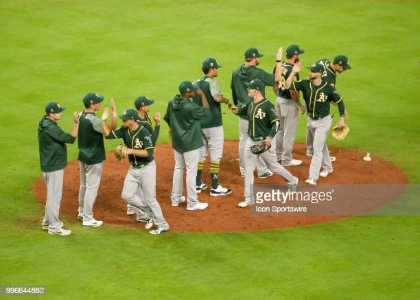 Oakland Athletics celebrate after defeating the Houston Astros 20 during the baseball game between the Oakland Athletics and Houston Astros on July 9...
