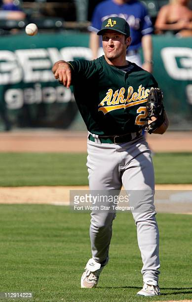 Oakland Athletics closer Huston Street throws out a Texas Rangers batter in the bottom of the ninth inning The A's defeated the Rangers 138 at...