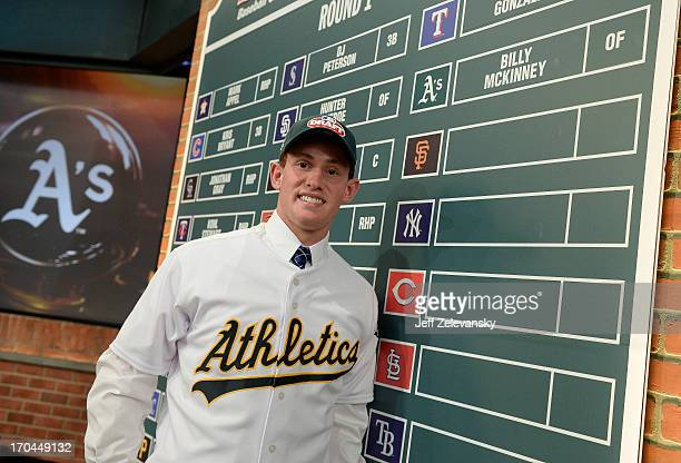 Oakland Athletics draftee Billy McKinney poses near the draft board at the 2013 MLB FirstYear Player Draft at the MLB Network on June 6 2013 in...