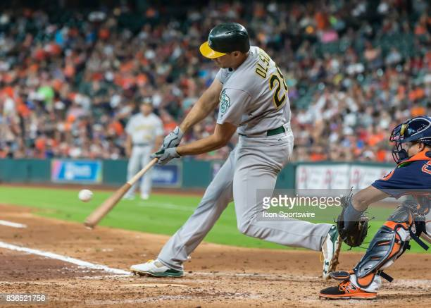 Oakland Athletics first baseman Matt Olson flies out to third base in the fourth inning of the MLB game between the Oakland Athletics and Houston...