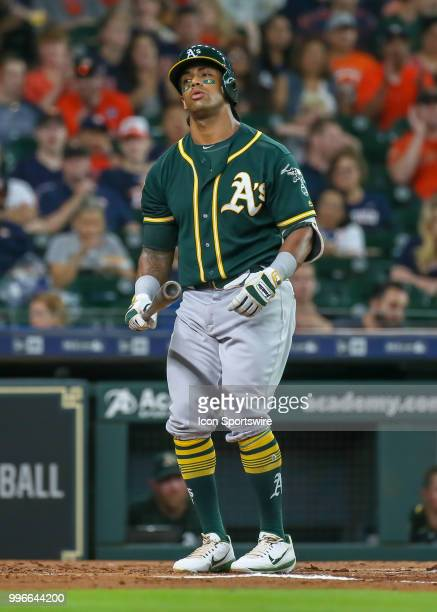 Oakland Athletics first baseman Matt Olson reacts after striking out in the top of the second inning during the baseball game between the Oakland...