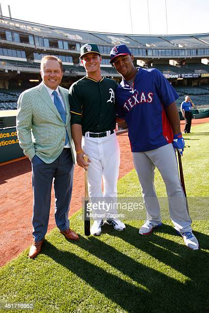 Oakland Athletics first round draft pick Matt Chapman stands with agent Scott Boras and Adrian Beltre of the Texas Rangers prior to the game at Oco...