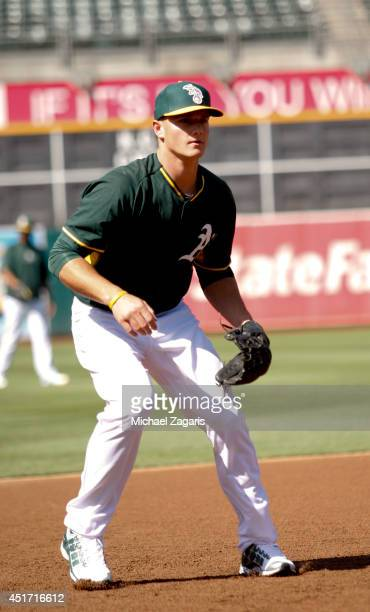 Oakland Athletics first round draft pick Matt Chapman takes fielding practice prior to the game against the Texas Rangers at Oco Coliseum on June 16...