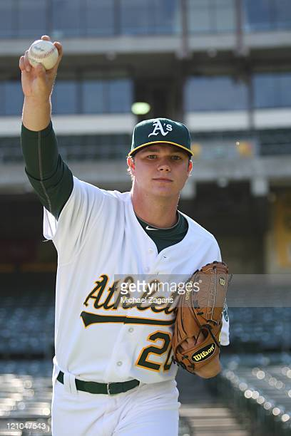 Oakland Athletics' first round draft pick Sonny Gray poses for the camera prior to the game against the Tampa Bay Rays at the OaklandAlameda County...