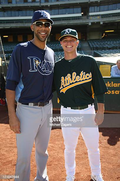 Oakland Athletics' first round draft pick Sonny Gray stands with Vanderbilt alum David Price of the Tampa Bay Rays prior to the game at the...