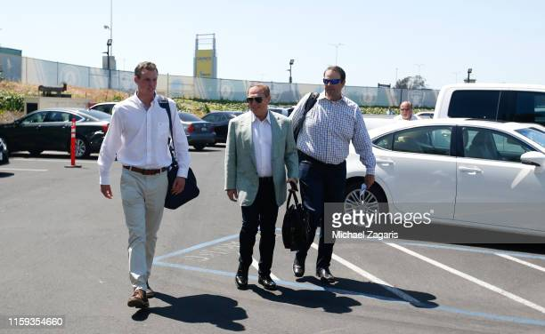 Oakland Athletics first round pick Logan Davidson arrives at the Oakland-Alameda County Coliseum with Agent Scott Boras before signing his contact,...