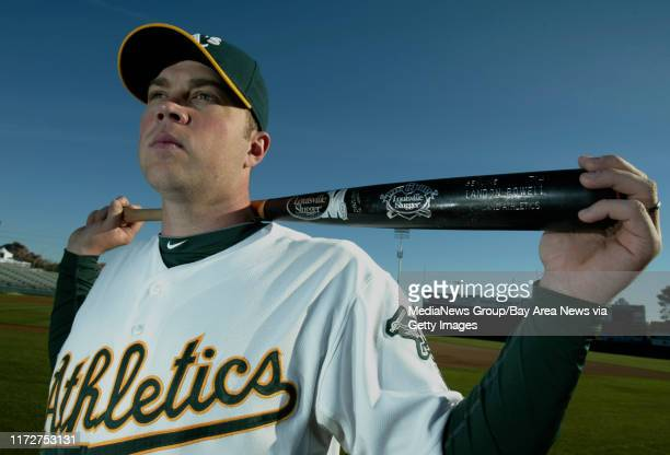 Oakland Athletics' Landon Powell poses for a picture on photo day during spring training at Phoenix Municipal Stadium, in Phoenix, Ariz., on Monday,...